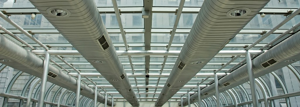 Air-conditioning ducts in a modern building, Melbourne, Australia